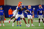 Florida Gators wide receiver Tyrie Cleveland sprints and foes for the catch but Florida Gators defensive back Duke Dawson is there to break up the pass as the Gators run through practice drills finishing up their first week of fall practice.  August 5th, 2016.  Gator Country photo by David Bowie.
