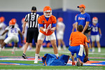 Florida Gators quarterback Luke Del Rio gets set for the snap as the Gators run through practice drills finishing up their first week of fall practice.  August 5th, 2016.  Gator Country photo by David Bowie.