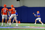 Florida Gators wide receiver Glenn Jarriel eyes the ball in for a catch from Florida Gators quarterback Kyle Trask as the Gators run through practice drills finishing up their first week of fall practice.  August 5th, 2016.  Gator Country photo by David Bowie.