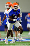 Florida Gators wide receiver Ahmad Fulwood sprints downfield after making the catch as the Gators run through practice drills finishing up their first week of fall practice.  August 5th, 2016.  Gator Country photo by David Bowie.