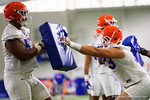 Florida Gators defensive lineman Caleb Brantley and Florida Gators defensive lineman Taven Bryan working through blocking drills as the Gators run through practice drills finishing up their first week of fall practice.  August 5th, 2016.  Gator Country photo by David Bowie.