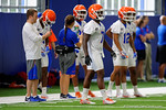 Florida Gators defensive back Duke Dawson walks onto the field as the Gators run through practice drills finishing up their first week of fall practice.  August 5th, 2016.  Gator Country photo by David Bowie.