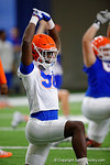 Florida Gators defensive lineman Antonneous Clayton strething as the Gators run through practice drills finishing up their first week of fall practice.  August 5th, 2016.  Gator Country photo by David Bowie.