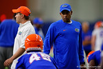 Florida Gators Assistant Coach, Wide Receivers Kerry Dixon II as the Gators run through practice drills finishing up their first week of fall practice.  August 5th, 2016.  Gator Country photo by David Bowie.