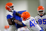 Florida Gators defensive lineman Antonneous Clayton and Florida Gators defensive lineman Jordan Smith as the Gators run through practice drills finishing up their first week of fall practice.  August 5th, 2016.  Gator Country photo by David Bowie.