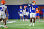 Florida Gators wide receiver Chris Thompson coaching up the receivers as the Gators run through practice drills finishing up their first week of fall practice.  August 5th, 2016.  Gator Country photo by David Bowie.