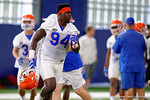 Florida Gators defensive lineman Bryan Cox sprints to his next drill as the Gators run through practice drills finishing up their first week of fall practice.  August 5th, 2016.  Gator Country photo by David Bowie.