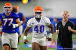 Florida Gators linebacker Jarrad Davis as the Gators run through practice drills finishing up their first week of fall practice.  August 5th, 2016.  Gator Country photo by David Bowie.