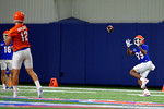 Florida Gators wide receiver Tyrie Cleveland gets set to catch a ball thrown from Florida Gators quarterback Austin Appleby as the Gators run through practice drills finishing up their first week of fall practice.  August 5th, 2016.  Gator Country photo by David Bowie.