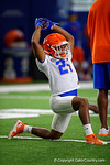 Florida Gators defensive back McArthur Burnett stretching as the Gators run through practice drills finishing up their first week of fall practice.  August 5th, 2016.  Gator Country photo by David Bowie.