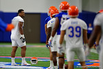 Florida Gators defensive lineman Caleb Brantley smiles as he leads the Gators through warm ups as the Gators run through practice drills finishing up their first week of fall practice.  August 5th, 2016.  Gator Country photo by David Bowie.
