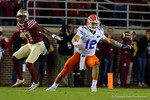 Florida Gators quarterback Austin Appleby trying to recover a fumble as the Gators go into Doak Campbell Stadium and lose to the Florida State Seminoles 31-13.  November 26th, 2016.  Gator Country photo by David Bowie.