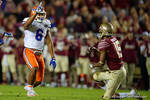 Florida Gators defensive back Quincy Wilson celebrates after breaking up a pass to Seminoles WR Travis Rudolph as the Gators go into Doak Campbell Stadium and lose to the Florida State Seminoles 31-13.  November 26th, 2016.  Gator Country photo by David Bowie.