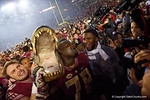Florida State right guard Wilson Bell holds up a Gator head as the Gators go into Doak Campbell Stadium and lose to the Florida State Seminoles 31-13.  November 26th, 2016.  Gator Country photo by David Bowie.