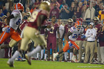 Florida Gators running back Lamical Perine makes a catch and sprints down the sideline, as the Gators go into Doak Campbell Stadium and lose to the Florida State Seminoles 31-13.  November 26th, 2016.  Gator Country photo by David Bowie.