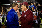 Florida Gators Head Coach Jim McElwain and FSU head coach Jimbo Fisher meet at midfield during pregame, as the Gators go into Doak Campbell Stadium and lose to the Florida State Seminoles 31-13.  November 26th, 2016.  Gator Country photo by David Bowie.