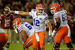 Florida Gators quarterback Austin Appleby making adjustments as he comes to the line as the Gators go into Doak Campbell Stadium and lose to the Florida State Seminoles 31-13.  November 26th, 2016.  Gator Country photo by David Bowie.