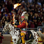 Chief Osceola takes the field prior to kickoff as the Gators go into Doak Campbell Stadium and lose to the Florida State Seminoles 31-13.  November 26th, 2016.  Gator Country photo by David Bowie.