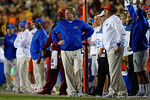 Florida Gators Head Coach Jim McElwain watching on from the sideline as the Gators go into Doak Campbell Stadium and lose to the Florida State Seminoles 31-13.  November 26th, 2016.  Gator Country photo by David Bowie.
