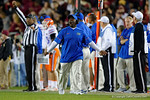 Florida Gators Assistant Coach, Running Backs Tim Skipper as the Gators go into Doak Campbell Stadium and lose to the Florida State Seminoles 31-13.  November 26th, 2016.  Gator Country photo by David Bowie.