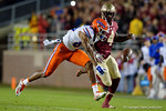 Florida Gators wide receiver Tyrie Cleveland cant catch up to a deep pass as the Gators go into Doak Campbell Stadium and lose to the Florida State Seminoles 31-13.  November 26th, 2016.  Gator Country photo by David Bowie.