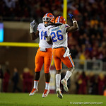 Florida Gators defensive back Marcell Harris and Florida Gators linebacker Vosean Joseph celebrate a fumble recovery for a touchdown as the Gators go into Doak Campbell Stadium and lose to the Florida State Seminoles 31-13.  November 26th, 2016.  Gator Country photo by David Bowie.