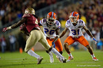 Florida Gators defensive back Marcell Harris making the tackle on FSU running back Dalvin Cook as the Gators go into Doak Campbell Stadium and lose to the Florida State Seminoles 31-13.  November 26th, 2016.  Gator Country photo by David Bowie.