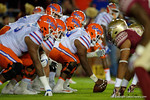 Florida Gators quarterback Austin Appleby and the offensive line line up for a snap as the Gators go into Doak Campbell Stadium and lose to the Florida State Seminoles 31-13.  November 26th, 2016.  Gator Country photo by David Bowie.