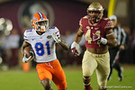 Florida Gators wide receiver Antonio Callaway sprinting downfield following after making a reception, as the Gators go into Doak Campbell Stadium and lose to the Florida State Seminoles 31-13.  November 26th, 2016.  Gator Country photo by David Bowie.