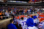 Florida Gators fans cheer on the Gators as they leave the field during pregame, as the Gators go into Doak Campbell Stadium and lose to the Florida State Seminoles 31-13.  November 26th, 2016.  Gator Country photo by David Bowie.