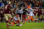 Florida Gators defensive kicker Eddy Pineiro kicks in a field goal to put the Gtaors on the scoreboard 7-3, as the Gators go into Doak Campbell Stadium and lose to the Florida State Seminoles 31-13.  November 26th, 2016.  Gator Country photo by David Bowie.