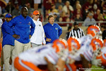 Florida Gators Head Coach Jim McElwain watching on during pregame, as the Gators go into Doak Campbell Stadium and lose to the Florida State Seminoles 31-13.  November 26th, 2016.  Gator Country photo by David Bowie.