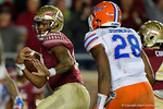 FSU quarterback Deondre Francois rushes into the endzone to put the Noles up 31-13, as the Gators go into Doak Campbell Stadium and lose to the Florida State Seminoles 31-13.  November 26th, 2016.  Gator Country photo by David Bowie.