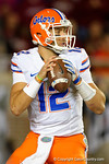 Florida Gators quarterback Austin Appleby drops back to pass looking downfield as the Gators go into Doak Campbell Stadium and lose to the Florida State Seminoles 31-13.  November 26th, 2016.  Gator Country photo by David Bowie.