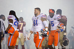 Florida Gators defensive lineman Joey Ivie, Florida Gators defensive back Marcell Harris and Florida Gators wide receiver Ahmad Fulwood out at midfield for the coin toss, as the Gators go into Doak Campbell Stadium and lose to the Florida State Seminoles 31-13.  November 26th, 2016.  Gator Country photo by David Bowie.