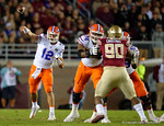 Florida Gators quarterback Austin Appleby throwing downfield as the Gators go into Doak Campbell Stadium and lose to the Florida State Seminoles 31-13.  November 26th, 2016.  Gator Country photo by David Bowie.