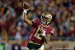 Florida State quarterback Deondre Francois throwing downfield as the Gators go into Doak Campbell Stadium and lose to the Florida State Seminoles 31-13.  November 26th, 2016.  Gator Country photo by David Bowie.