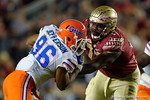 Florida Gators defensive lineman Cece Jefferson tries to get past FSU offensive lineman Roderick Johnson as the Gators go into Doak Campbell Stadium and lose to the Florida State Seminoles 31-13.  November 26th, 2016.  Gator Country photo by David Bowie.