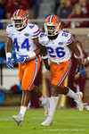 Florida Gators defensive back Marcell Harris and Florida Gators linebacker Rayshad Jackson celebrate after a blocked field goal attempt by FSU, as the Gators go into Doak Campbell Stadium and lose to the Florida State Seminoles 31-13.  November 26th, 2016.  Gator Country photo by David Bowie.