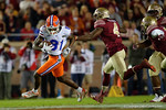 Florida Gators wide receiver Antonio Callaway tries to break free from a tackle attempt by Florida State defensive back Tarvaris McFadden as the Gators go into Doak Campbell Stadium and lose to the Florida State Seminoles 31-13.  November 26th, 2016.  Gator Country photo by David Bowie.
