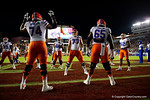 Florida Gators offensive lineman Andrew Mike and the offensive line during pregame, as the Gators go into Doak Campbell Stadium and lose to the Florida State Seminoles 31-13.  November 26th, 2016.  Gator Country photo by David Bowie.