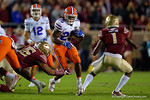 Florida Gators running back Jordan Scarlett rushiing as the Gators go into Doak Campbell Stadium and lose to the Florida State Seminoles 31-13.  November 26th, 2016.  Gator Country photo by David Bowie.