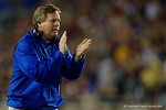 Florida Gators Head Coach Jim McElwain cheers on his team during the first half as the Gators go into Doak Campbell Stadium and lose to the Florida State Seminoles 31-13.  November 26th, 2016.  Gator Country photo by David Bowie.