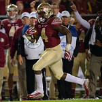 Florida State running back Dalvin Cook rushing during the first half as the Gators go into Doak Campbell Stadium and lose to the Florida State Seminoles 31-13.  November 26th, 2016.  Gator Country photo by David Bowie.