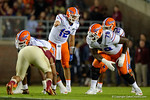 Florida Gators quarterback Austin Appleby pointing out the defense to Florida Gators running back Jordan Scarlett as the Gators go into Doak Campbell Stadium and lose to the Florida State Seminoles 31-13.  November 26th, 2016.  Gator Country photo by David Bowie.
