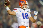 Florida Gators quarterback Austin Appleby throwing downfield, as the Gators go into Doak Campbell Stadium and lose to the Florida State Seminoles 31-13.  November 26th, 2016.  Gator Country photo by David Bowie.