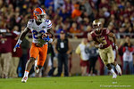 Florida Gators defensive back Chauncey Gardner intercepts a pass and turns upfield as the Gators go into Doak Campbell Stadium and lose to the Florida State Seminoles 31-13.  November 26th, 2016.  Gator Country photo by David Bowie.