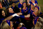 The Florida Gators cheerleaders gather together during pregame, as the Gators go into Doak Campbell Stadium and lose to the Florida State Seminoles 31-13.  November 26th, 2016.  Gator Country photo by David Bowie.