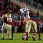 Florida Gators defensive kicker Eddy Pineiro lining up for a field goal attempt as the Gators go into Doak Campbell Stadium and lose to the Florida State Seminoles 31-13.  November 26th, 2016.  Gator Country photo by David Bowie.