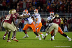 Florida Gators quarterback Austin Appleby dropping back looking downfield as the Gators go into Doak Campbell Stadium and lose to the Florida State Seminoles 31-13.  November 26th, 2016.  Gator Country photo by David Bowie.